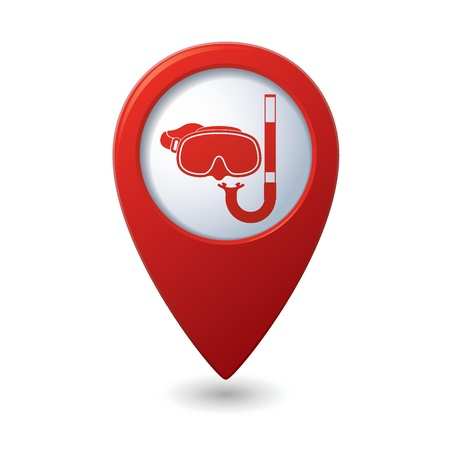 snorkel: Mask and snorkel icon on map pointer, illustration