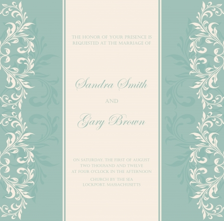 Damask green invitation floral card Illustration