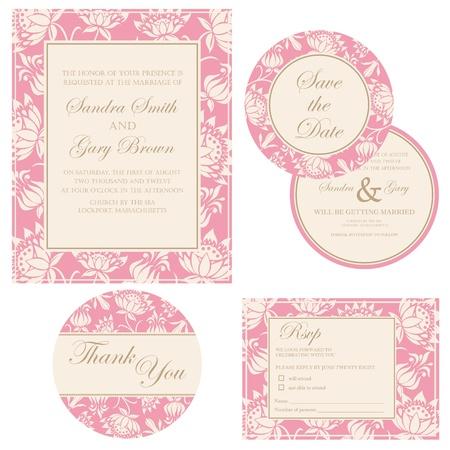 Beautiful vintage wedding invitation cards Illustration