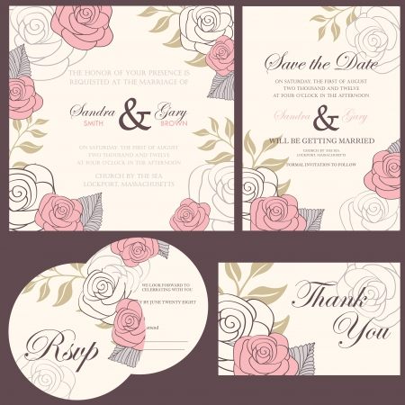 Wedding invitation cards set  thank you card, save the date card, RSVP card Stock Vector - 20358186