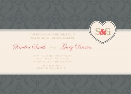 Vintage wedding invitation or announcement card