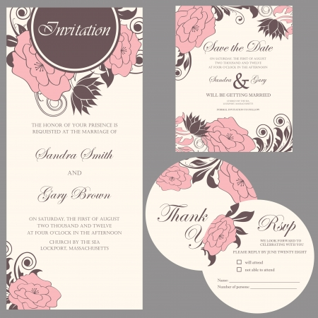 Wedding invitation set  thank you card, save the date card, RSVP card