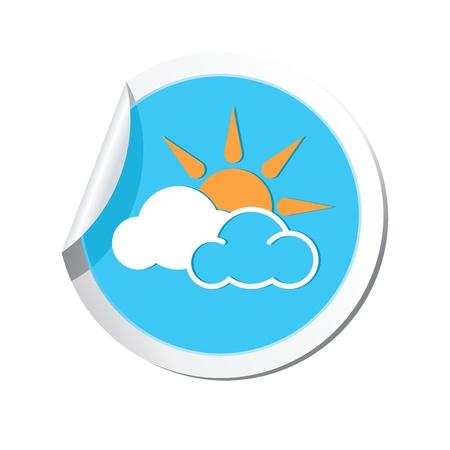 clave sol: Pron?co del tiempo las nubes con el icono del sol
