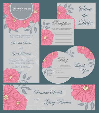 Set of wedding invitation cards with floral elements Stock Vector - 20439433