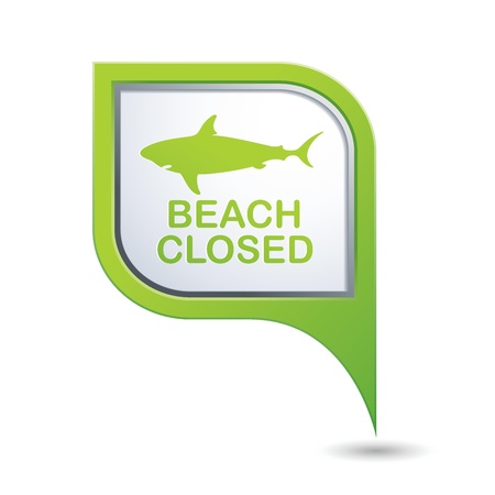 sighting: Beach Closed, shark sighting sign on map pointer, vector illustration