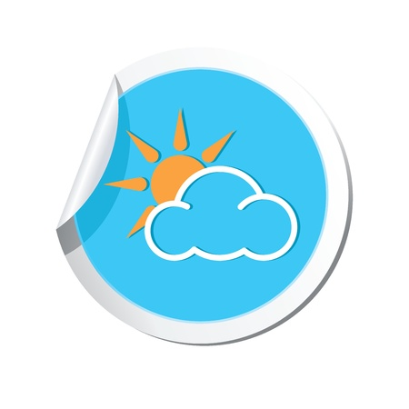 Weather forecast clouds with sun icon Illustration