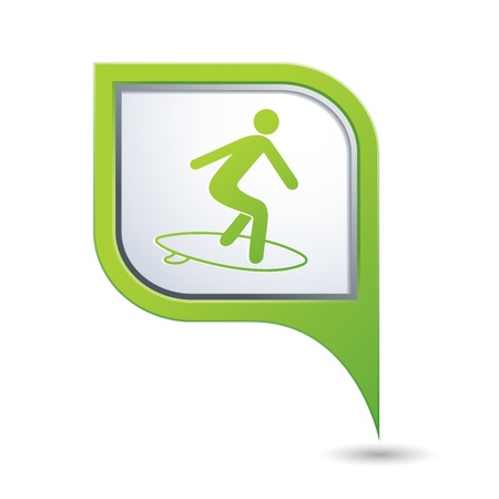 Green map pointer with man on surf icon Vector