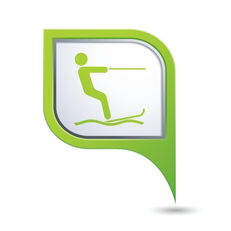 water skiing: Green map pointer with water skiing icon Illustration