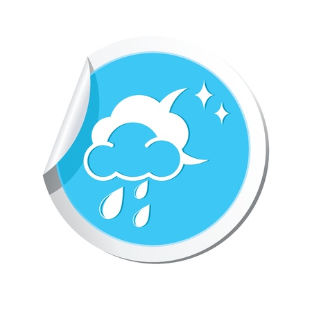 Weather forecast clouds with moon and raindrops icon Illustration