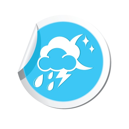 predict: Weather forecast clouds with moon and raindrops icon Illustration