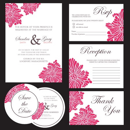 invitacion boda vintage: Conjunto de tarjetas de invitaci?n de la boda Vectores