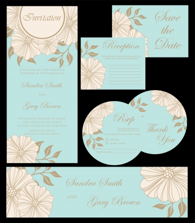 Beautiful floral wedding invitation cards Çizim
