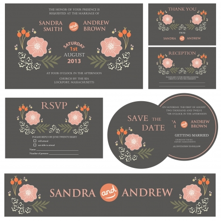 Set of wedding invitation cards Stock Vector - 20439435