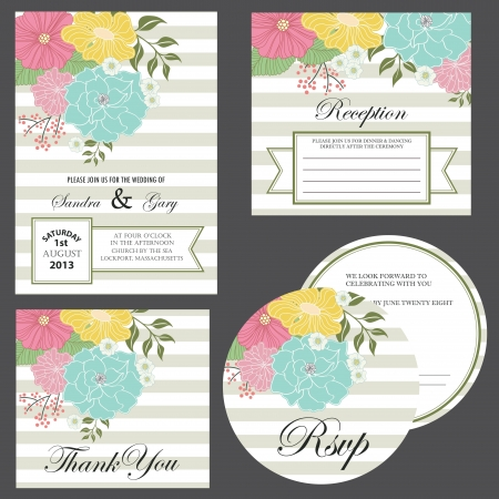 Set of wedding invitation cards  invitation, thank you card, RSVP card, reception  Illustration
