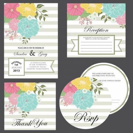 Set of wedding invitation cards  invitation, thank you card, RSVP card, reception  Ilustração