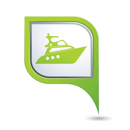 excursions: Green map pointer with yacht icon
