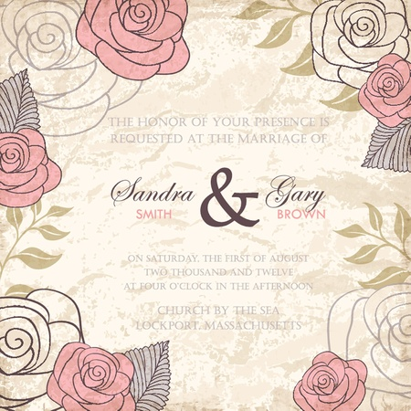 Vintage floral wedding invitation with roses  Vector illustration