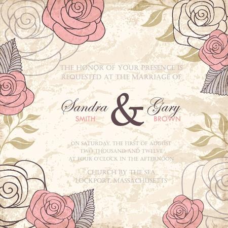 boda: Invitación de la boda floral Vintage con rosas ilustración vectorial
