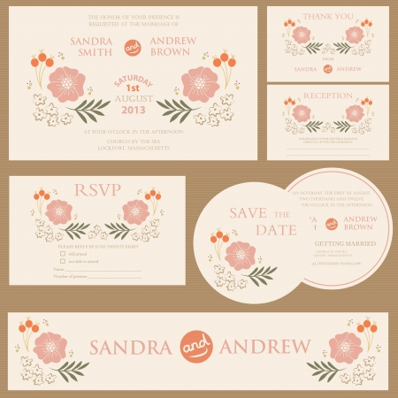 Beautiful vintage wedding invitation cards Stock Vector - 20861442