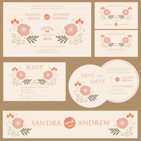 Beautiful vintage wedding invitation cards Reklamní fotografie - 20861442