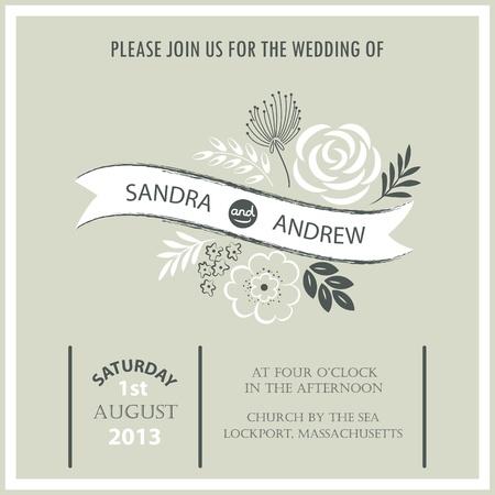 Vintage wedding invitation card Vectores