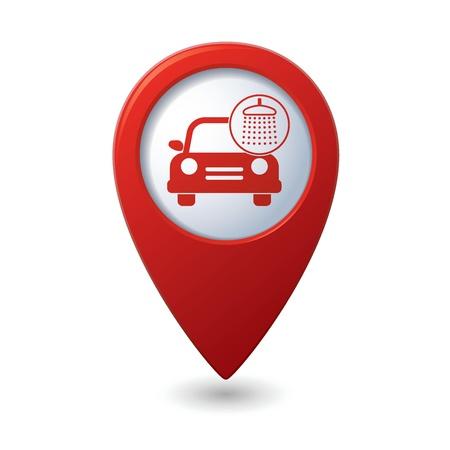 lavado: Icono de lavado de coches en el mapa puntero Vectores