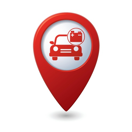 accumulator: Car service  Car with accumulator icon on red map pointer Illustration