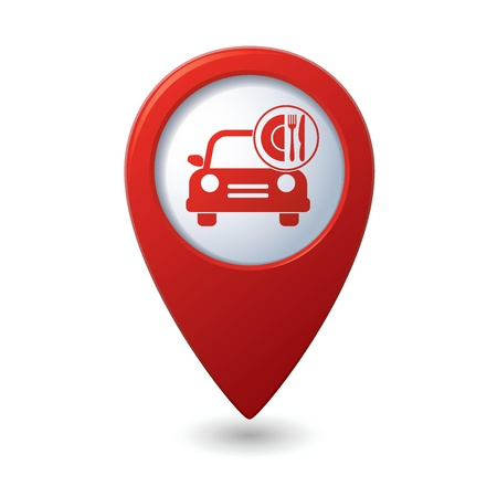 Car with meal icon on map pointer, vector illustration Stock Vector - 21014839