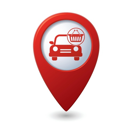 no icon: Car with shop basket icon no red map pointer