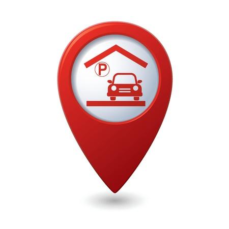 parking garage: Parking garage sign on map pointer, vector illustration Illustration