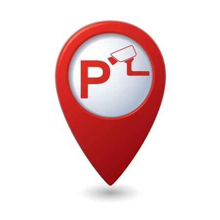 robo de autos: Aparcamiento bajo supervisión icono puntero del mapa