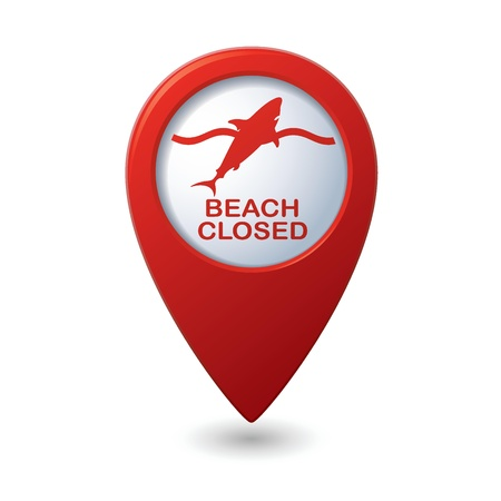 Beach Closed, shark sighting sign on map pointer, vector  Vector