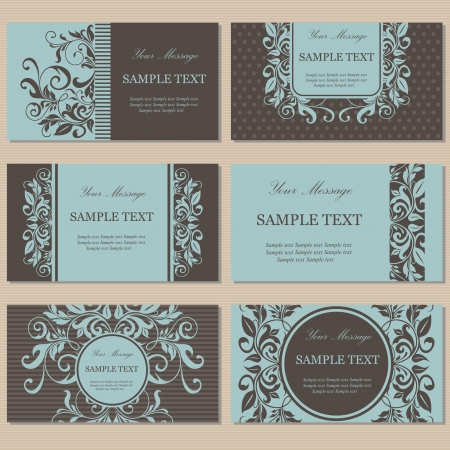 Set of six floral business cards Illustration