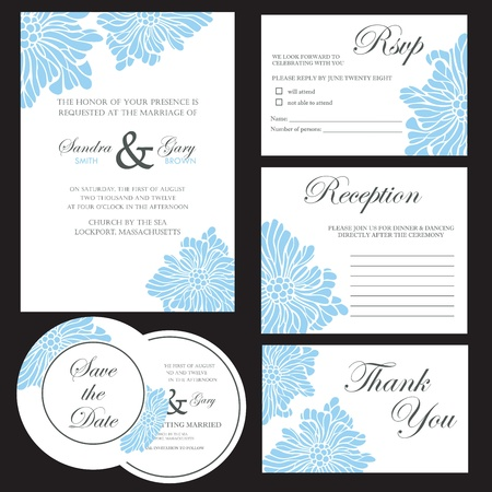 postcard template: Beautiful floral wedding invitation cards Illustration