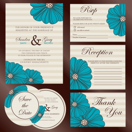 Set of wedding invitation cards  invitation, thank you card, RSVP card, reception  Vectores