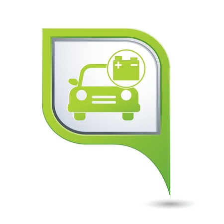 accumulator: Car service  Car with accumulator icon on green map pointer