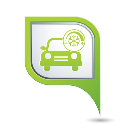 conditioner: Car service  Car with air conditioner icon on green map pointer