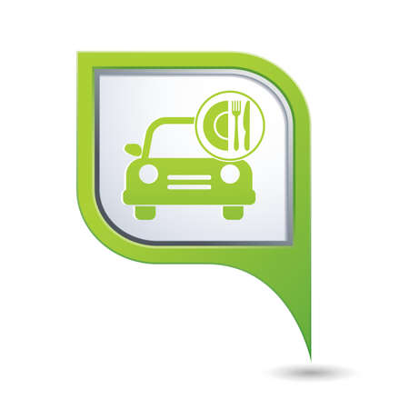 Car with meal icon on green map pointer, vector illustration Vector