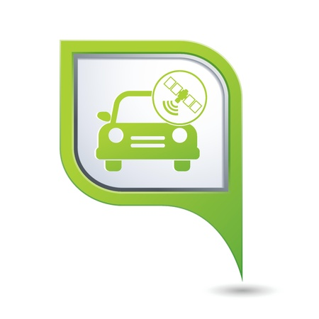 Car service  Car with wireless icon on green map pointer Stock Vector - 21158347