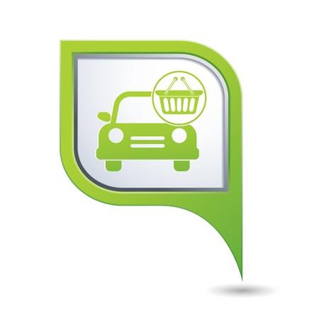 no icon: Car with shop basket icon no green map pointer