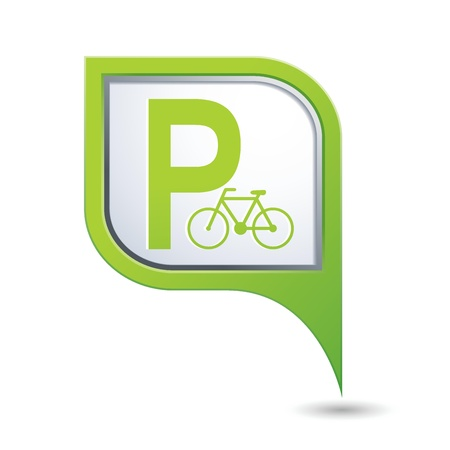 Parking for bicycle icon on map pointer, vector illustration Vector