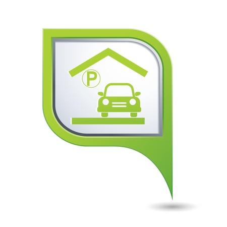 parking garage: Parking garage sign on green map pointer, vector illustration