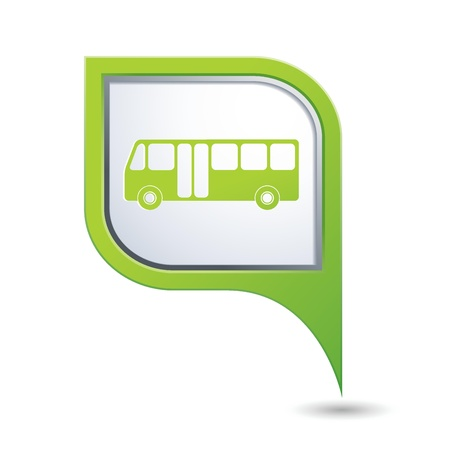 Green map pointer with bus icon Imagens - 21317510