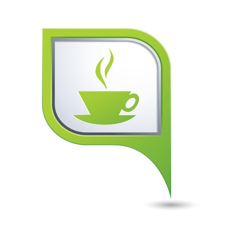 Green map pointer with hot coffee cup icon Vector
