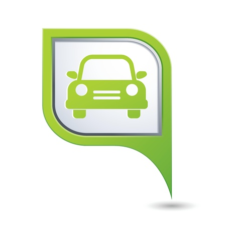 Green map pointer with car icon Stock Vector - 21317514