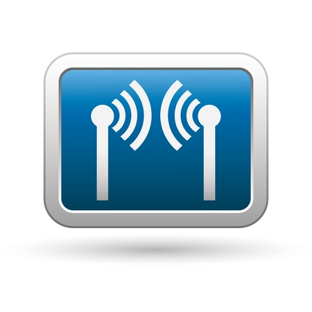 Wireless icon on the blue with silver rectangular button Vector