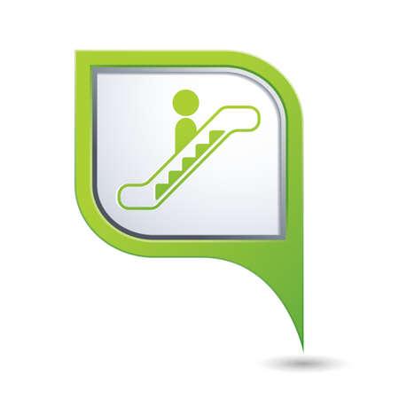 escalate: Green map pointer with escalator icon