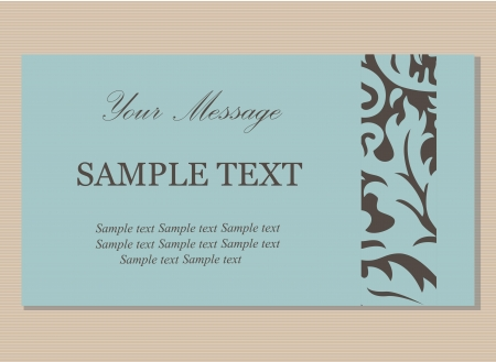 Floral vintage business card, invitation or announcement