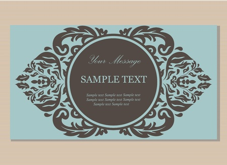 Floral vintage business card, invitation or announcement Vector