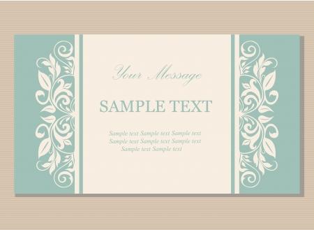 Floral vintage business card, invitation or announcement Illustration